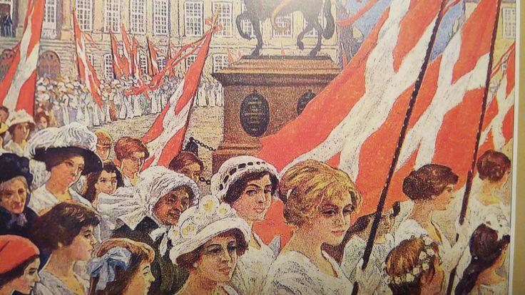 Paul Fischer 1915 Forside på Blæksprutten. Kvindeoptog i anledning af kvindernes valgret