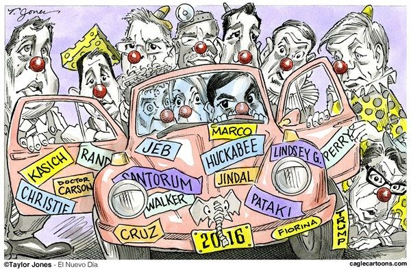 Taylor Jones - El Nuevo Dia, Puerto Rico - Send in the Republicans - COLOR - English - republicans,clowns,2016,presidential,candidates,clown,car,marco,rubio,carly,fiorina,rand,paul,ted,cruz,ben,carson,jeb,bush,scott,walker,chris,christie,lindsey,graham,rick,perry