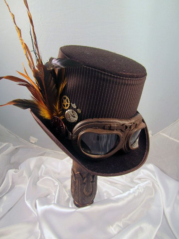Steampunk Hat- Men's Brown Topper with Brown Aviator Goggles & Clock Parts-top hat on Etsy, $107.32 AUD