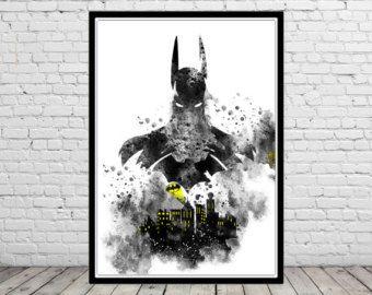 Batman inspirado Ilustración acuarela imprimir acuarela Art