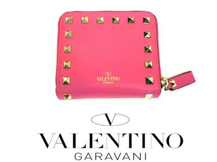 valentino wallet ヴァレンチノ財布 スタッズ ピンク 二つ折り財布 国内発送