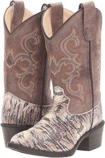 Old West Kids Boots - J Toe Lizard Print Cowboy Boots