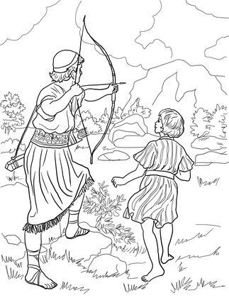 1 Samuel 18:1-12; 19:1-10; 20:1-42-David & Jonathan Became Friends. Jonathan Warns David coloring page