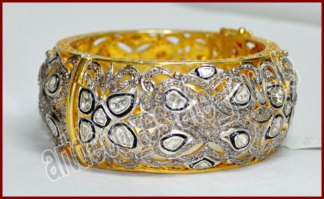 16.80ct ROSE/POLKI CUT DIAMOND BRACELET/BANGLE IN 925 SILVER /FREE SHIPPING #EJEWELBAY