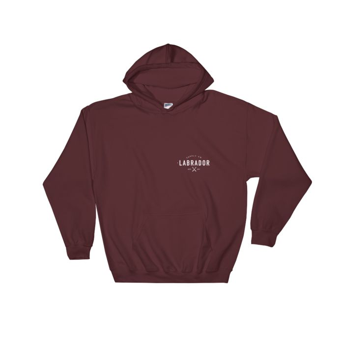 Pullover hoodie with white Labrador Supply Co. logo on front left breast and across back. Available in several colours and sizes.