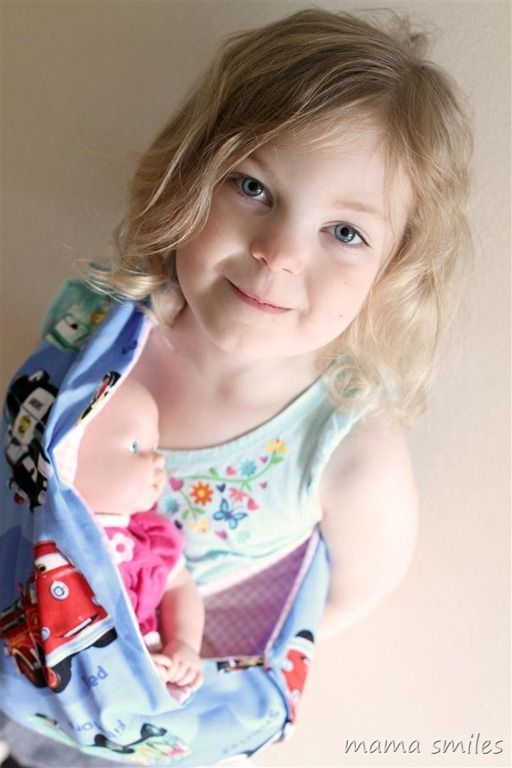 Simple tutorial for sewing a baby doll carrier. Love how easy this one is for kids to put on and take off!