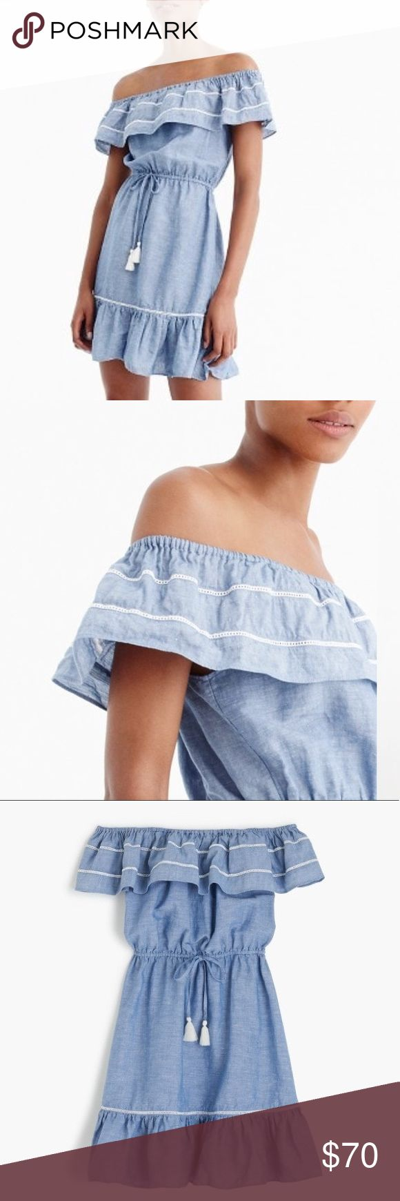 "J. Crew Denim Ruffle Off The Shoulder Beach Dress NWT perfect spring/summer dress from J.Crew! Features ruffle top detail, adjustable drawstring tie elastic waist, and eyelet trim. Elastic at top top for nice fit on shoulders Material is cotton/linen.  Length 30""  Waist 14.5"" measured flat- keep in mind this can stretch and also shrink because it's adjustable J. Crew Dresses"