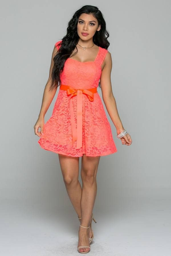 Bright and Beautiful Coral Lace Dress  Gorgeous New Color! PERFECT dress for the Summer!! #coraldress
