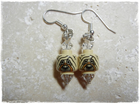 E Lego Star Wars Tuscan Riader Earrings Head by EVILandENCHANTED, $19.00