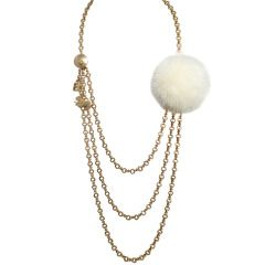 Fendi Multi-Strand Necklace with Charms and a Mink Ball | From a unique collection of vintage multi-strand necklaces at https://www.1stdibs.com/jewelry/necklaces/multi-strand-necklaces/