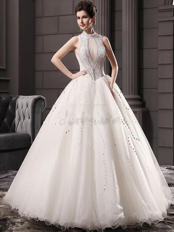 Doresuwe.com SUPPLIES 2016新品 襟付き 真珠飾りの綺麗目 豪華 結婚式ドレス 花嫁ドレス ウェディングドレス ロングドレス ウェディングドレス-2016