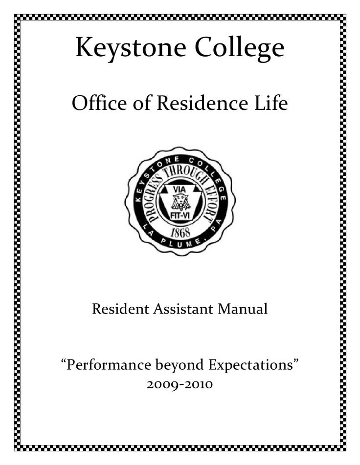 RA Manual-2009 by Leslie Frishberg via Slideshare for Keystone College Office of Res Life