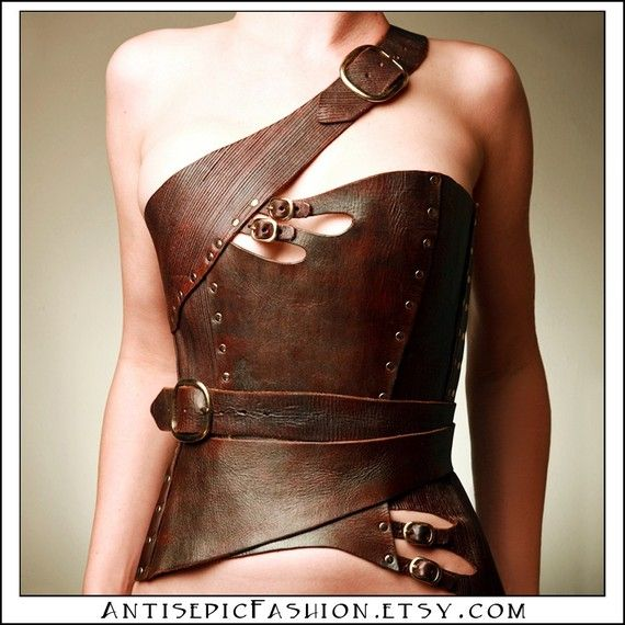 Not usually into anything vaguely Steampunk or 'fetish' but Antiseptic Fashion (on Etsy) has some great designs. Leather Corset for $700