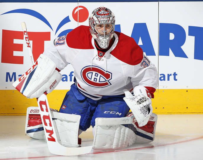 TORONTO, ON - JANUARY 7: Carey Price #31 of the Montreal Canadiens warms up prior to playing against the Toronto Maple Leafs in an NHL game at the Air Canada Centre on January 7, 2017 in Toronto,Ontario, Canada. The Canadiens defeated the Maple Leafs 5-3. (Photo by Claus Andersen/Getty Images)