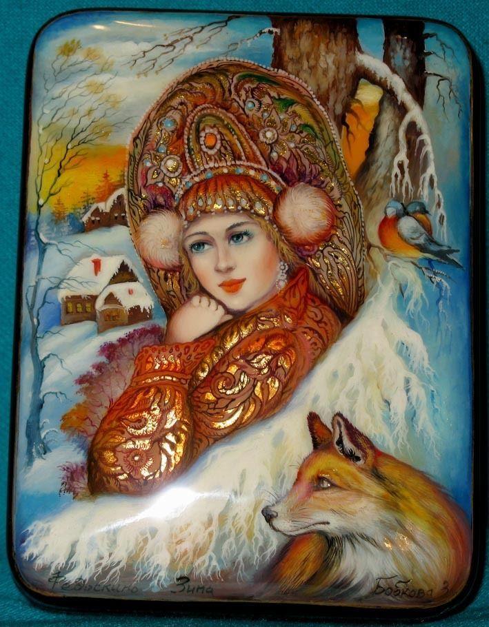 Федоскино. Зима. Laquer painting