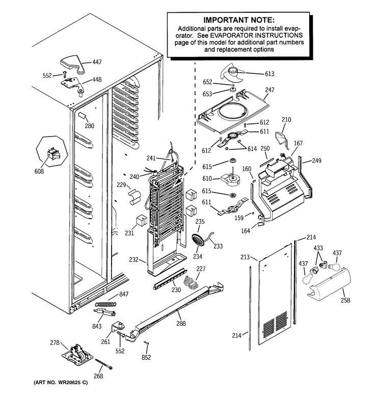 FREEZER SECTION Diagram & Parts List for Model