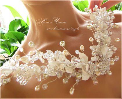 Серебристый свадебный венец-диадема для невесты Свадебный венец из ювелирной проволоки Необычный венец-корона для невесты Жемчужный венец для невесты
