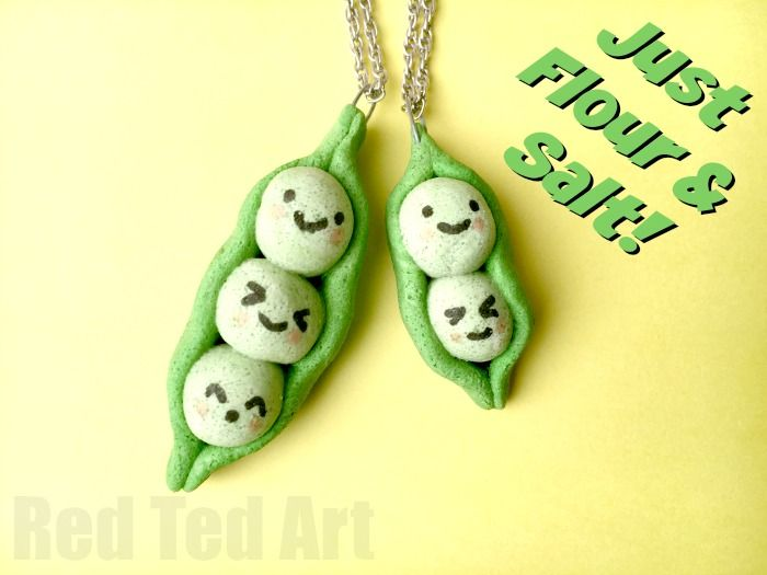 Peas in a Pod Pendants made from this easy salt dough recipe - a great Summer Camp friendship craft.