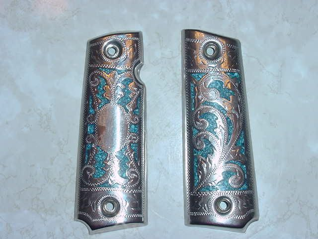 1911 grips   Colt 1911 Silver and Turquoise Grips