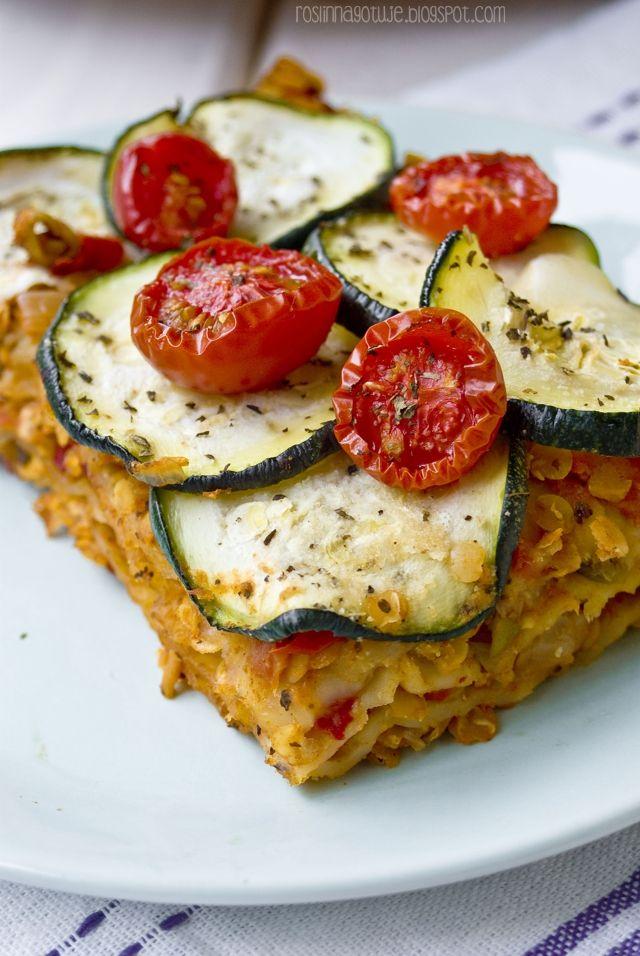 Roślinna - blog wegański: Lazania z pomidorami i soczewicą