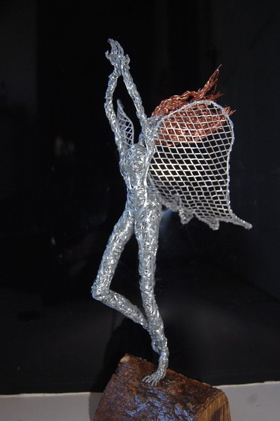 Handmade wire fairy pixy elf dancing sculpture. by KisMetDal