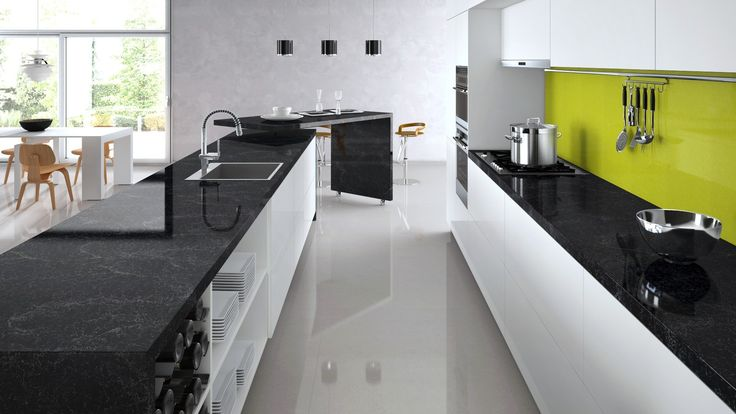 Colour Scheme Of White Gloss Black Quartz And Accent Green | Ealing Kitchen  Ideas | Pinterest