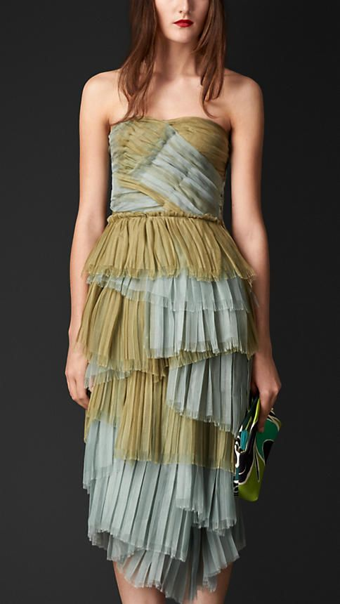 Burberry Pale elderflower Layered Silk Bustier Dress - A bustier dress crafted from silk.  The bodice is structured with an internal corset, while the skirt features pleated layers hand-finished with raw edges.  A layer of silk lines the dress.  Discover the women's dress collection at Burberry.com
