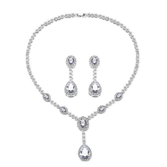 """cz bridal jewelry set silver teardrop """"Angela"""""""