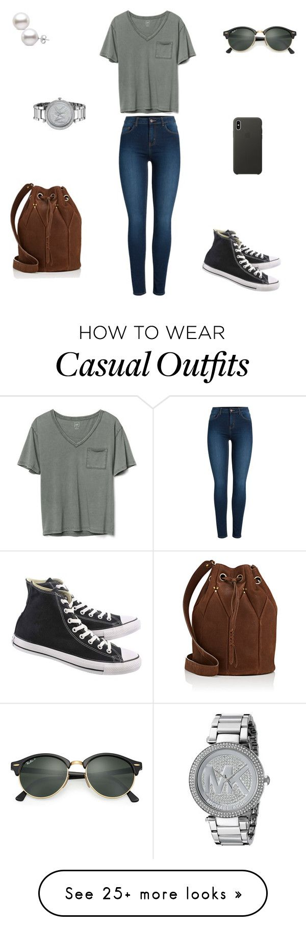 """Lately Casual"" by christy-wade-1 on Polyvore featuring Pieces, Gap, Converse, Ray-Ban, Michael Kors, Jérôme Dreyfuss and Apple"