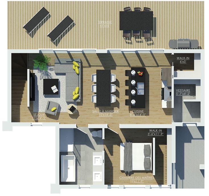 E3C avec toit cathédrale(enlever salon) Plan petite maison Pinterest