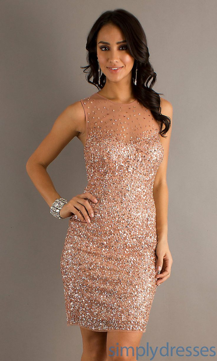 Dress, Short Sleeveless Sequin Dress - Simply Dresses