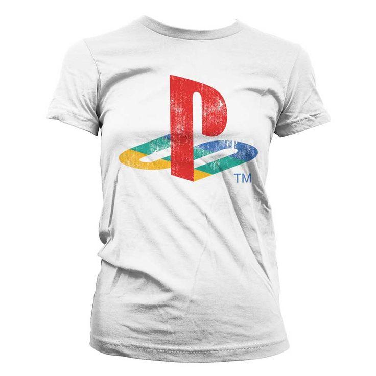 Hybris PlayStation - Distressed Logo dames T-shirt wit - Games merchan