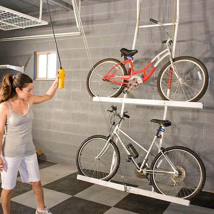 diy ceiling bike rack for garage bike racks for garage. Black Bedroom Furniture Sets. Home Design Ideas