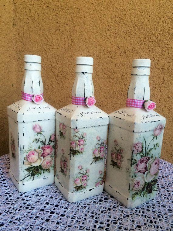 Decorativa Decoupage botella cocina decoración Decoupage flores florero Decoupage Decoupage flores botella Vintage botella