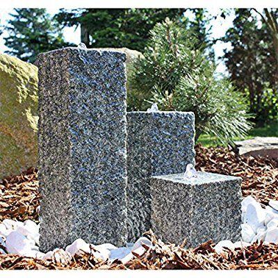 CLGarden Granit Springbrunnen SB2 - 3 teiliger Säulenbrunnen Steinbrunnen Wasserspiel Gartenbrunnen