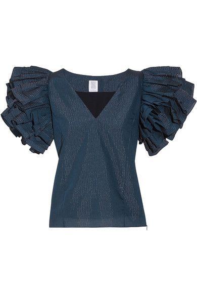 Rosie Assoulin - Dust Ruffled Metallic Striped Seersucker Top - Storm blue