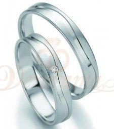Βέρες γάμου λευκόχρυσες με διαμάντι breuning 7131-7132