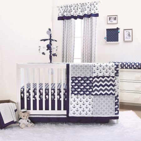 The Peanut Shell 4 Piece Baby Crib Bedding Set - Navy Blue Nautical Whales and Anchors - 100% Cotton Fabrics - Walmart.com