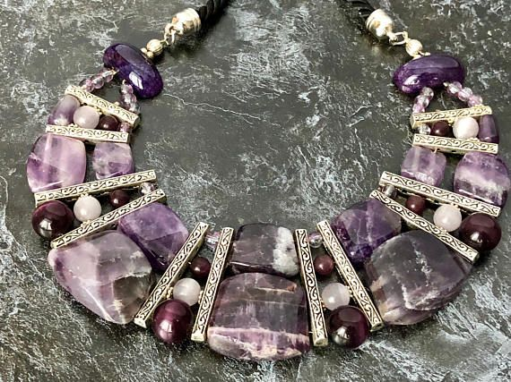 Length 18 inc/ 46 cm Luxury amethyst statement necklace of amethyst remarkably suitable for elegant evening dress to the floor, as well as under the blouse. It can decorate the most usual strict dress and fill it with elegance. This purple big amethyst necklace is simply impossible