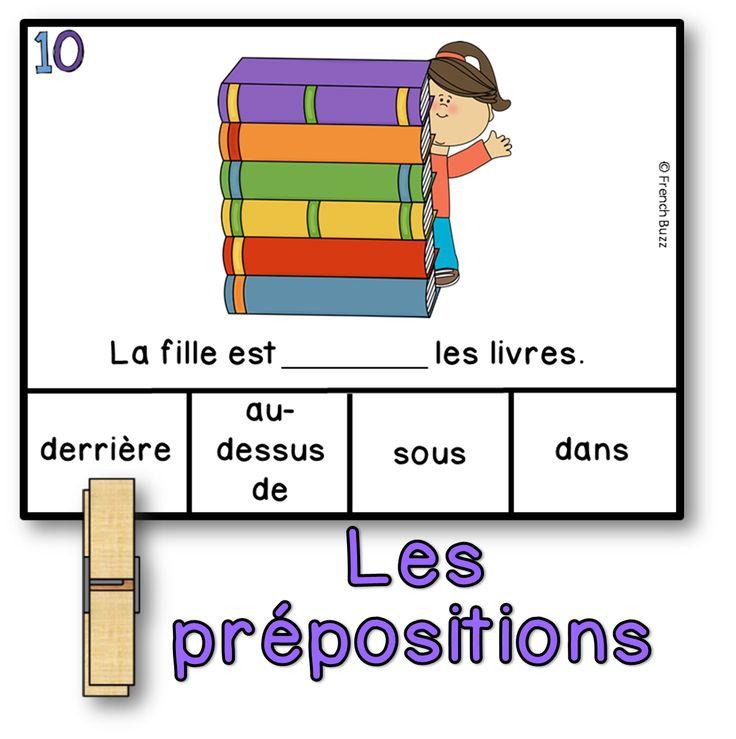 Les prépositions de lieu - jeu d'association pour pratiquer ses prépositions. Les élèves peuvent utiliser une pince à linges ou un marqueur effaçable pour faire cette activité.