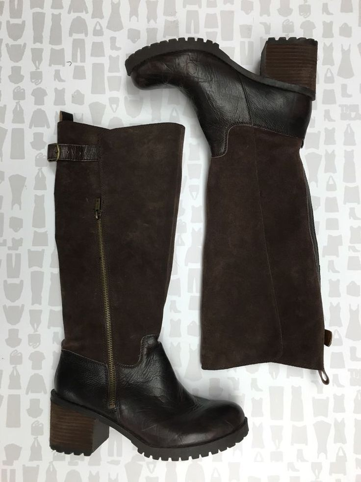 Lucky Brand Womens Leather Suede Dark Brown Riding Boots Size 9 5   eBay