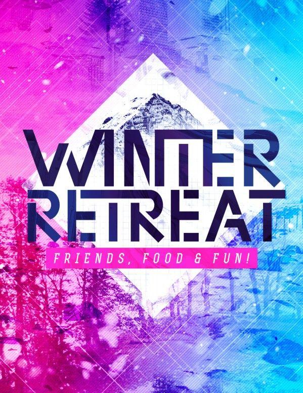 Winter Retreat Church Flyer Template Youth Pinterest Flyer