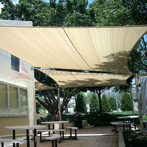 Waterproof Rectangle Sun Shade Sail Fabric Canopy Patio Awning  8u0027/10u0027/12u0027/16u0027