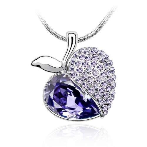 Österreichischen Kristall Birne Violett Strickjacke Kette