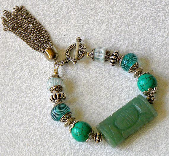 Carved Jade Focal Handmade Beaded Bracelet by bdzzledbeadedjewelry, $32.00