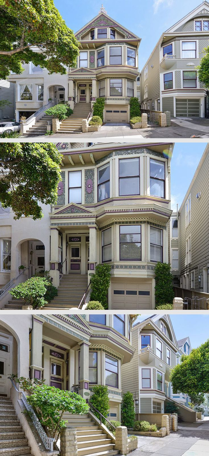 Haight-Ashbury Victorian Stunner  Built in 1895, 754 Clayton Street is a three-bedroom, two-bathroom condo with one-car parking and a deeded back yard in a two-unit Victorian building located in San Francisco's Haight-Ashbury District. #sanfrancisco #sf #victorian #architecture #homes #landscape #realestate #bayarea