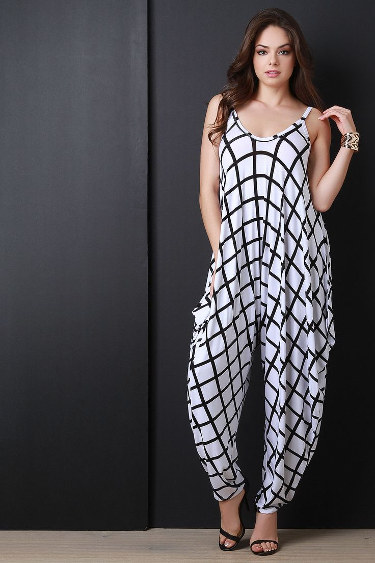 Two Tone Grid Sleeveless Harem Jumpsuit