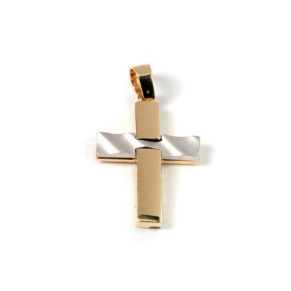Σταυρός  δίχρωμος χρυσό Κ14  7837