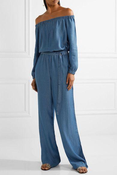 MICHAEL Michael Kors - Off-the-shoulder Chambray Jumpsuit - Blue - x large