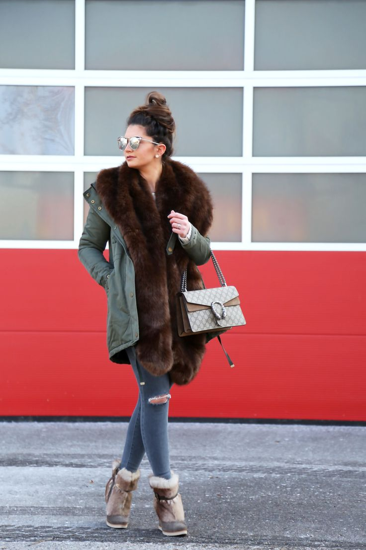 parka love - FashionHippieLoves. Blush blouse+natural sweater+ripped skinny jeans+brown wedge ankle boots+khaki parka+brown fur stole+taupe and camel Gucci Dionysus chain shoulder bag. Winter Casual Outfit 2017